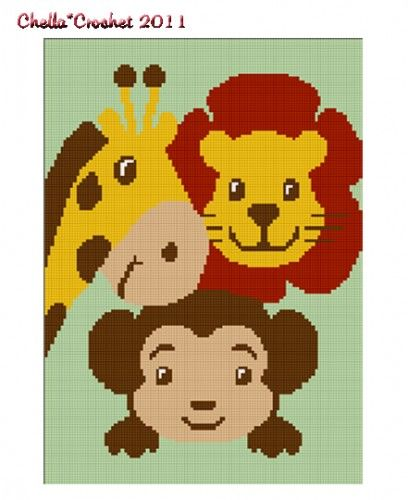 Knitting Patterns Jungle Animals : Jungle Scene Lion Monkey Giraffe Crochet Afghan Pattern Graph Crochet afgha...