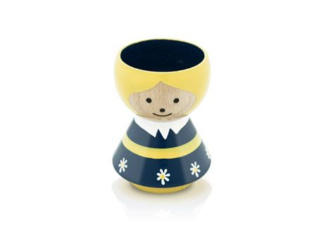 Decorative retro egg holder in hand painted beech wood