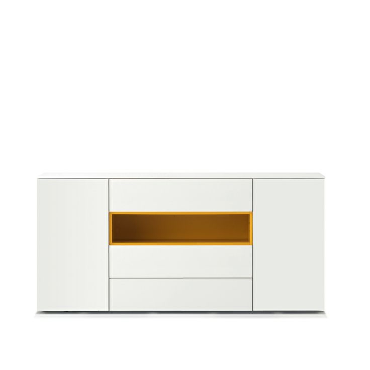 Mix Sideboard in white with mustard yellow open shelf
