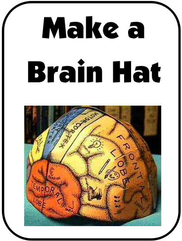"NEW DOWNLOAD: Make a ""Brain Hat"" What a fun way to learn about the different parts of the brain and the functions of each part! Includes templates for different 'sizes' (child through adult). Download Club members can download @ http://www.christianhomeschoolhub.com/pt/Brain--Nervous-System--Neuroscience-Teaching-Materials/wiki.htm"