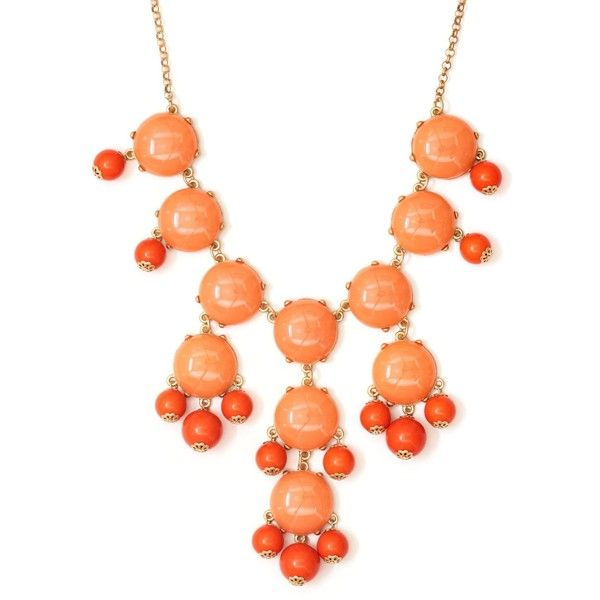 Bubble Bib Necklace Coral Orange NJ14 Beaded Bauble Gold Tone Luxury... ($23) ❤ liked on Polyvore featuring jewelry, necklaces, orange necklace, bubble necklace, orange coral necklace, bib necklaces and orange bubble necklace