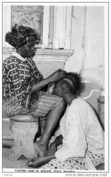Plaiting hair in 'kolese' style Nigeria. | |cc| | Pinterest