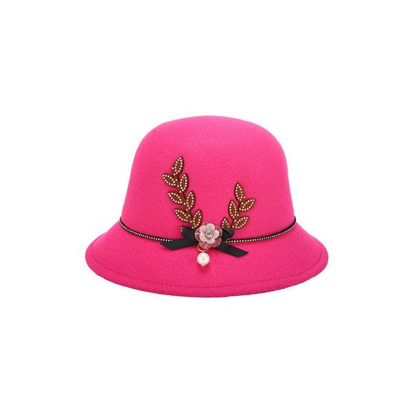 Elegant Felt Fedoras Top Hat Casual Floral Bowknot Decoration Bucket... ($8.96) ❤ liked on Polyvore featuring accessories, hats, rose, floral print hat, floral bucket hat, felt bucket hat, print hats and fisherman hat