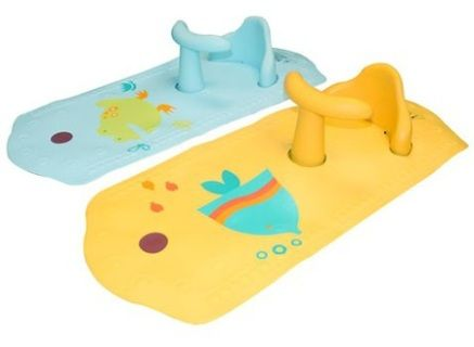 Great quality bath support with temperature indicator. The box has 2 parts to it: mat with ideal temperature indicator and heaps of suction cups to hold it down, seat and handle bar. YELLOW SOLD OUTSize: 6mths +