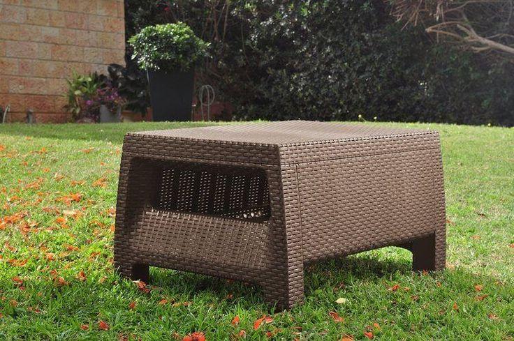 Outdoor Patio Furniture Coffee Table All Weather Garden Backyard Brown Set New  #KeterCorfu