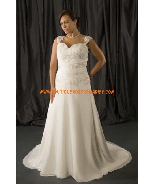 Glamour robe de mariée grande taille mousseline