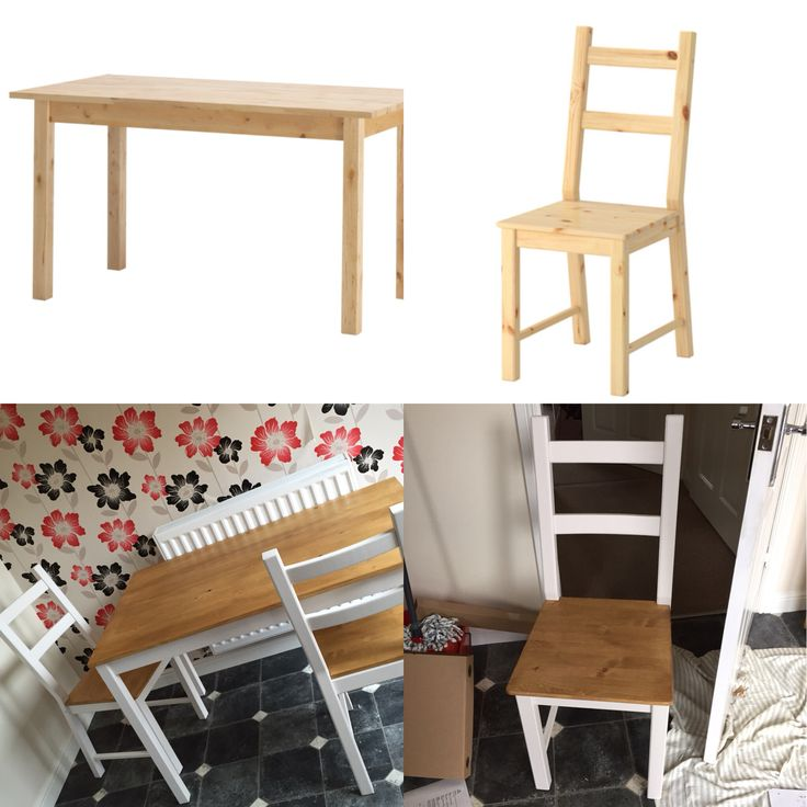 IKEA Ivor chairs and ingo table painted in soft cream and stained with vintage pine. Total cost £80