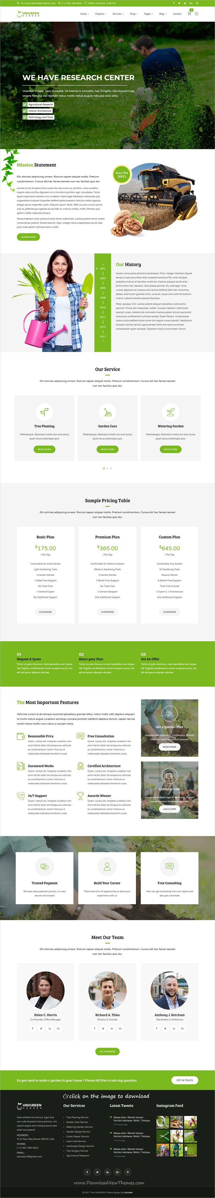 Unigreen is clean and modern design 3in1 responsive #HTML5 template for #gardener, #landscaping and lawn services website to download click on image.