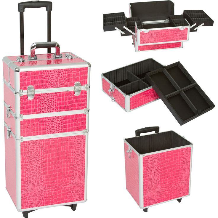 pink office supplies and accessories | Seya 3-in-1 Pink Gator Rolling Makeup Case