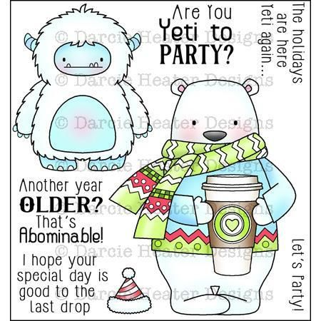 Ellen Hutson LLC - Darcie's Clear Stamps, Yeti to Party, $8.00 (http://www.ellenhutson.com/darcies-clear-stamps-yeti-to-party/)