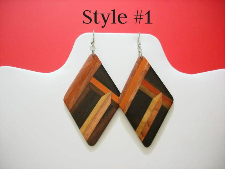 "2.5-3.5"" Handmade Multicolored Wood Earrings. Made in Peru."