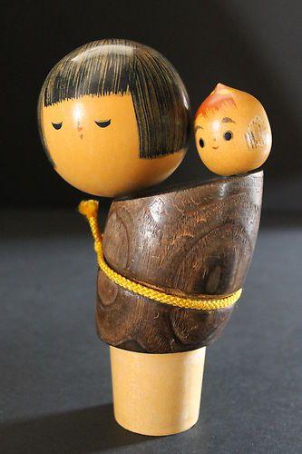 Kokeshi Doll Mother and Baby Girl