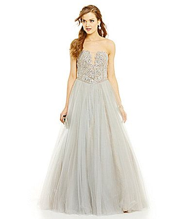 Glamour by Terani Couture Tulle and Lace Underlay Ballgown #Dillards