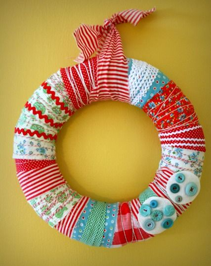 vintage fabric scrap wreath. totally acceptable all year long if you ask me.