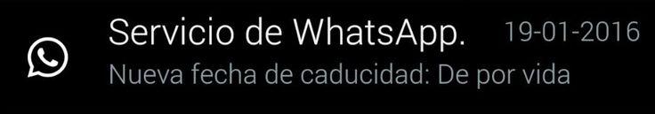 """WhatsApp: Nueva fecha de caducidad de por vida - http://frikilogia.com/whatsapp-nueva-fecha-de-caducidad-de-por-vida/  En los últimos minutos han enviado tresnotificaciones contradictorias, primero """"extendiendo"""" el servicio """"de por vida"""", para después """"reducirlo"""" a una nueva fecha de vencimiento. El día de ayer WhatsApp anunció que ya no cobraría su famosa suscripción anual..."""