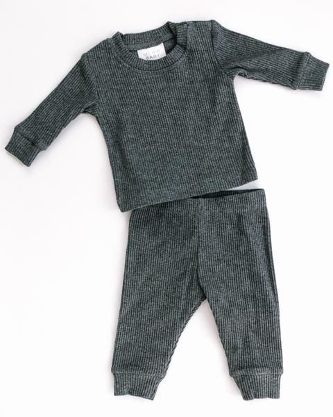 f9c4e4135 Heather charcoal Ribbed Two-piece Cozy set – Mebie Baby Cotton Spandex, Long  Sleeve