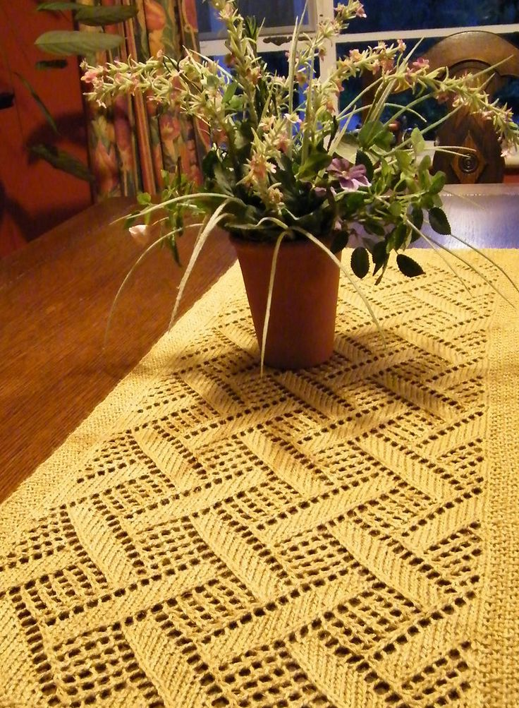 "Free Knitting Pattern for Montague Table Runner - This piece features a diamond lace pattern that also could be used as a scarf or a shawl. Approximately 22"" wide x 62"" long Designer: Berroco Design Team. Pictured project by Equuleus"