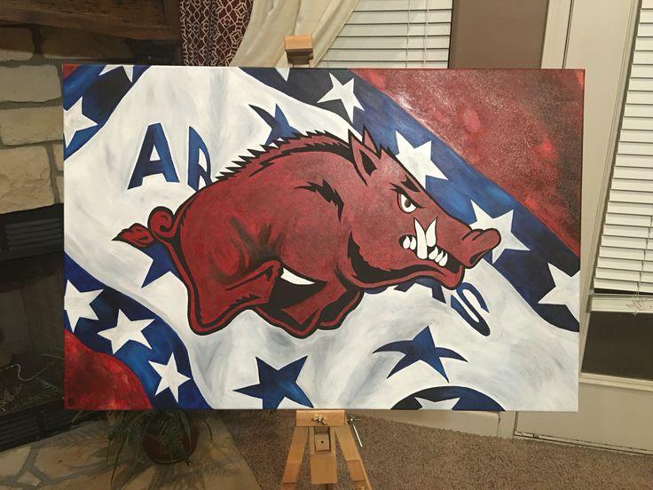 Razorback on Arkansas flag. 24x36 canvas