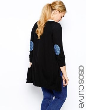 Enlarge ASOS CURVE Cardigan With Denim Spot Elbow Patch