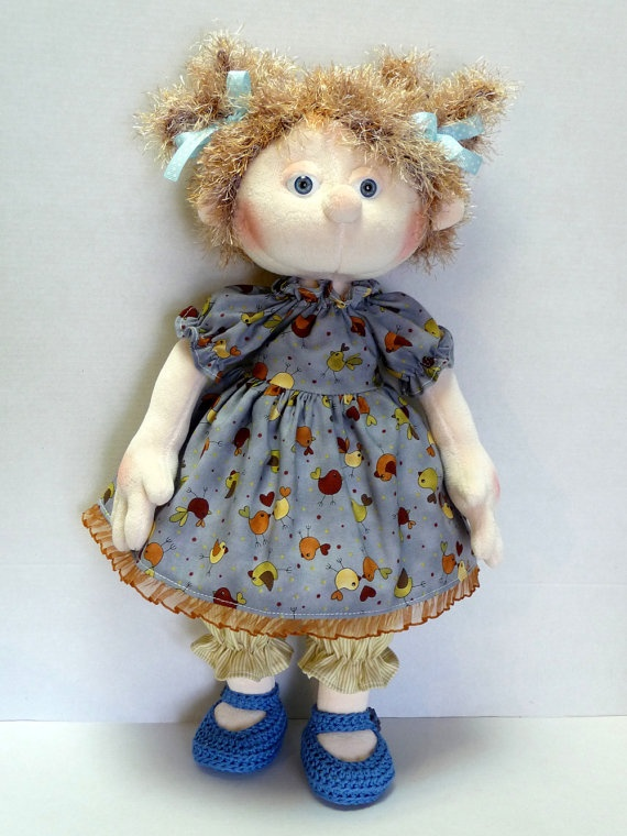 Little Girl in Birdie Patterned Lovely Dress and by szarvasmici, $120.00