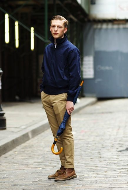 Navy windbreaker, tan chinos and brown boots - perfect for drizzly autumn weather
