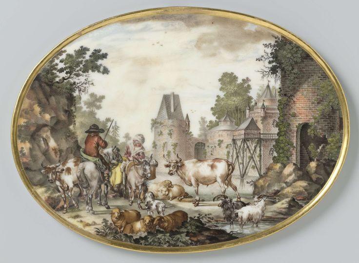 Manufactuur Oud-Loosdrecht | Twee ovale platen met figuren en vee in een rivierlandschap, Manufactuur Oud-Loosdrecht, c. 1778 - c. 1782 | Plaat van porselein. Ovaal, met iets opstaande vergulde rand. Veelkleurig beschilderd met een rivierlandschap met figuren en vee en een kasteel op de achtergrond. Links is een man te paard in gesprek met een vrouw op een ezel. De plaat is middenonder gesigneerd (ingekrast in de verf) JBZ. (de eerste twee letters als monogram). In het midden van de…