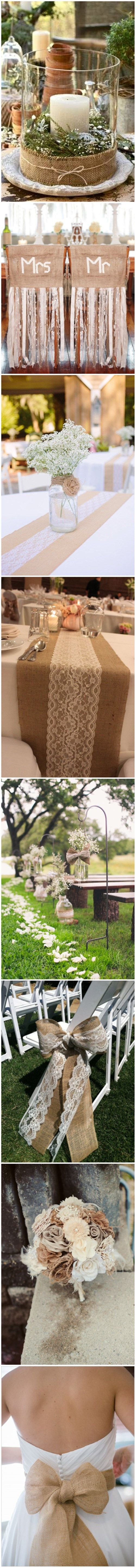 Top 50 burlap and lace wedding Ideas