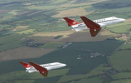 Formation of two BAe HS125 Dominies of 32Sqn RAF Northolt.