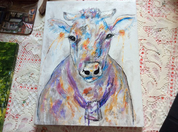 acrylic painting cow