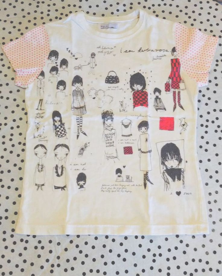 TSUBI /KSUBI Tee, So Cute! With Illustrations, Polka dot Sleeves