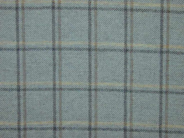 Highland Wool Tartan Check Duck Egg Curtain & Upholstery Fabric - The Millshop Online