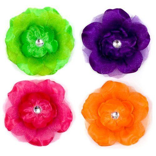"""Poppy Brights Clip - 4 pack by My Little Legs. $6.94. Purple, Green, Hot pink, Orange. My Little Legs Brand. Approximately 4.5"""" across. Diamond center & alligator clip. Get this vibrant 4 pack of flower clips and accessorize with a headband or hat."""