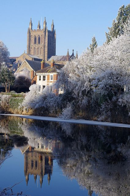 Hereford Cathedral, River Wye. What a beautiful frosty photo of our beloved City