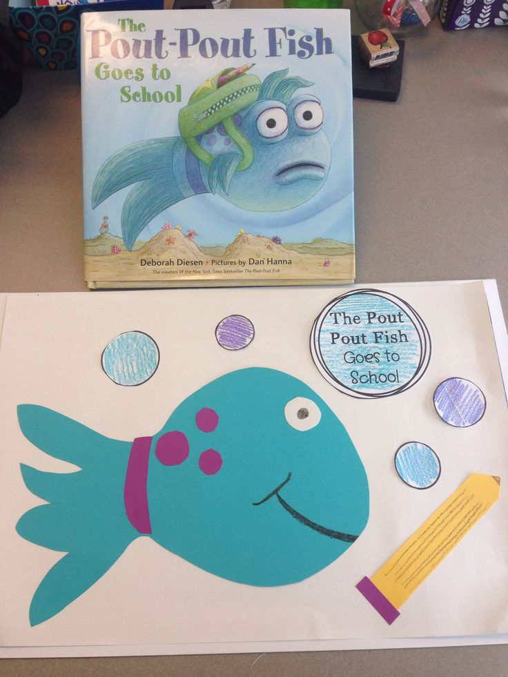 pout pout fish to goes to school craft for beginning of the year in kindergarten