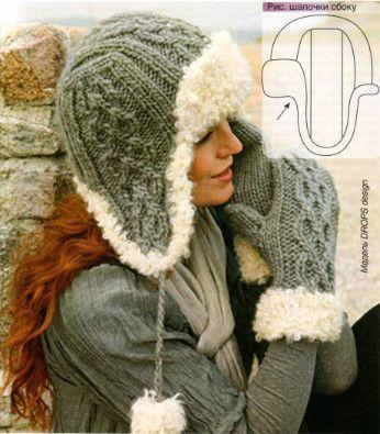 Женская шапочка-ушанка и варежки, вязаные спицами
