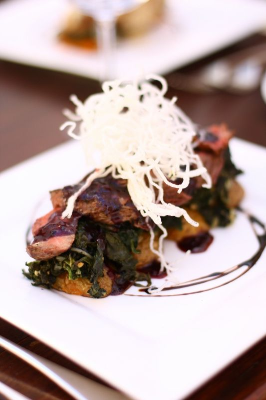 Beef, potatoes, spinach and reduction