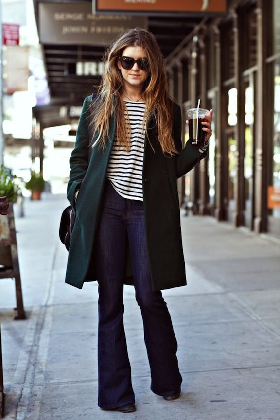 This whole outfit. Probs anything in a black/navy stripe with a nice cut.  Also yes to flares and structured coat