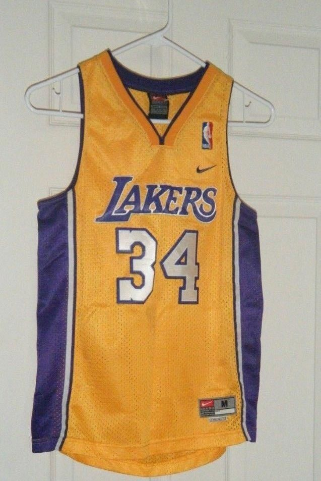 NBA Los Angeles Lakers Nike #34 Shaquille O'Neal Jersey Kids M ...