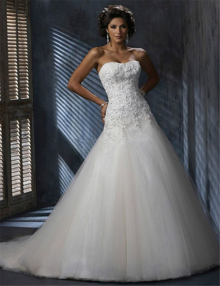 Wholesale Strapless Tulle Sweetheart Appliqued Bridal Wedding Dress Gown Free Shipping