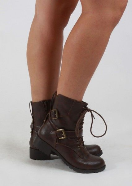 Short Brown Combat Boots With Buckles. On sale, ordering this week ...