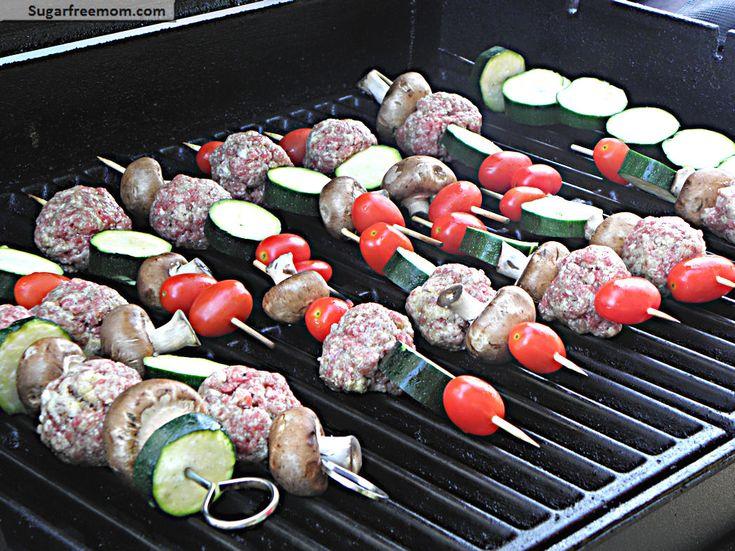 SweetLeaf Stevia® Sweetener | Healthy Grilled Turkey Meatball Kabobs with Balsamic Glaze | via Sugar Free Mom