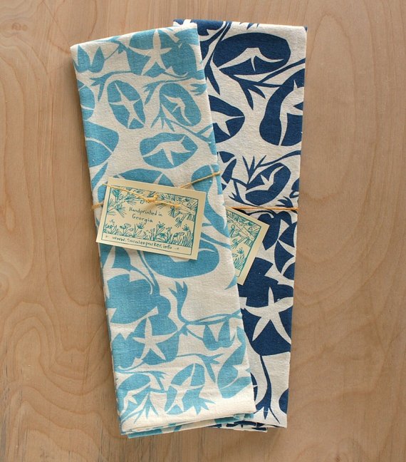 Morning Glory tea towels from saraleeparker $20