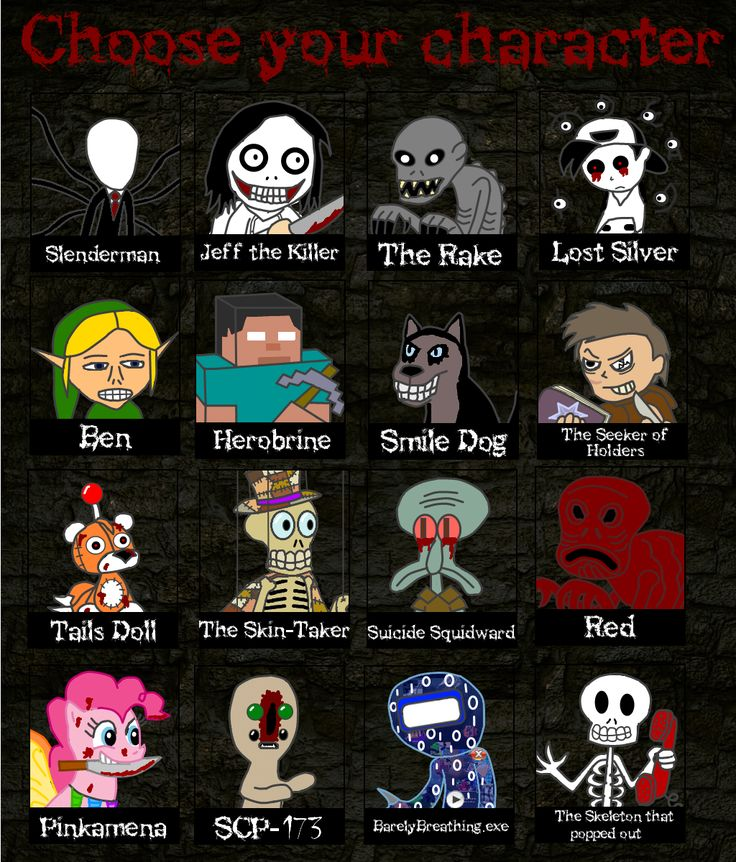 The only ones on here I've seen or heard of are Lost silver, BEN drowned, Herobrine, slender man, and the tails doll