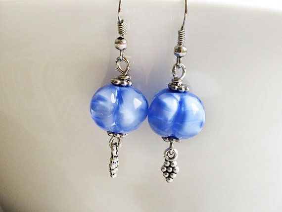 Periwinkle Lampwork Earrings Violet Glass by GlassHouseLampwork