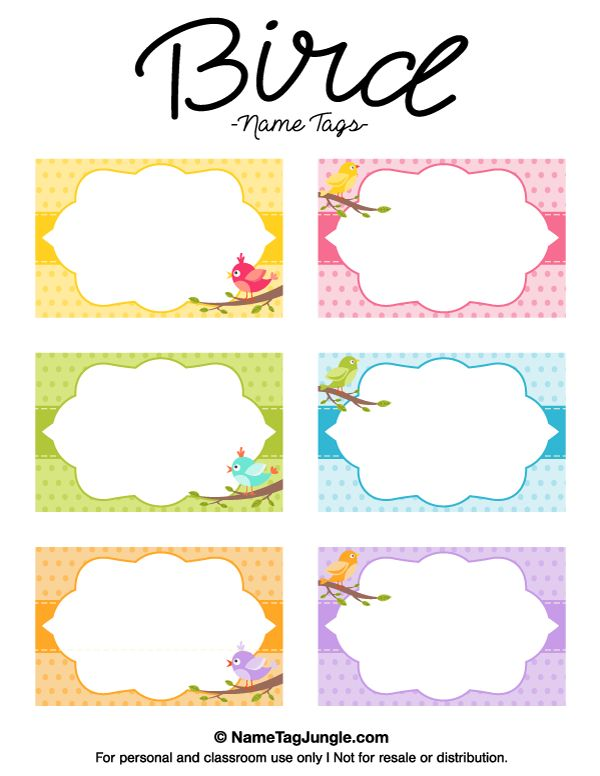 Free printable bird name tags. The template can also be used for creating items like labels and place cards. Download the PDF at http://nametagjungle.com/name-tag/bird/