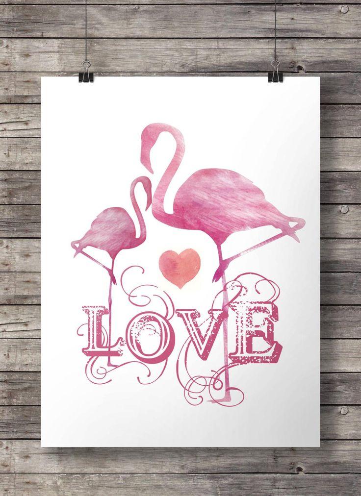 Acquerello fenicottero amore arte muro stampabile di SouthPacific