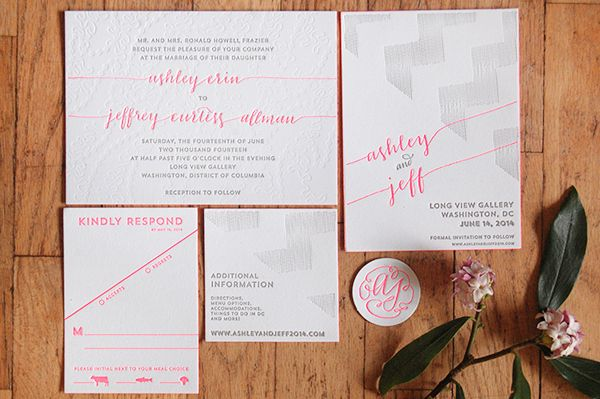 Neon Pink Modern Calligraphy Wedding Invitations