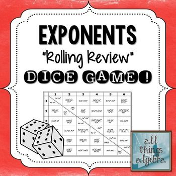 """Simplifying Expressions with Exponents - """"Rolling Review"""""""
