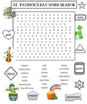Word search puzzles, Word search and St patrick's day on Pinterest