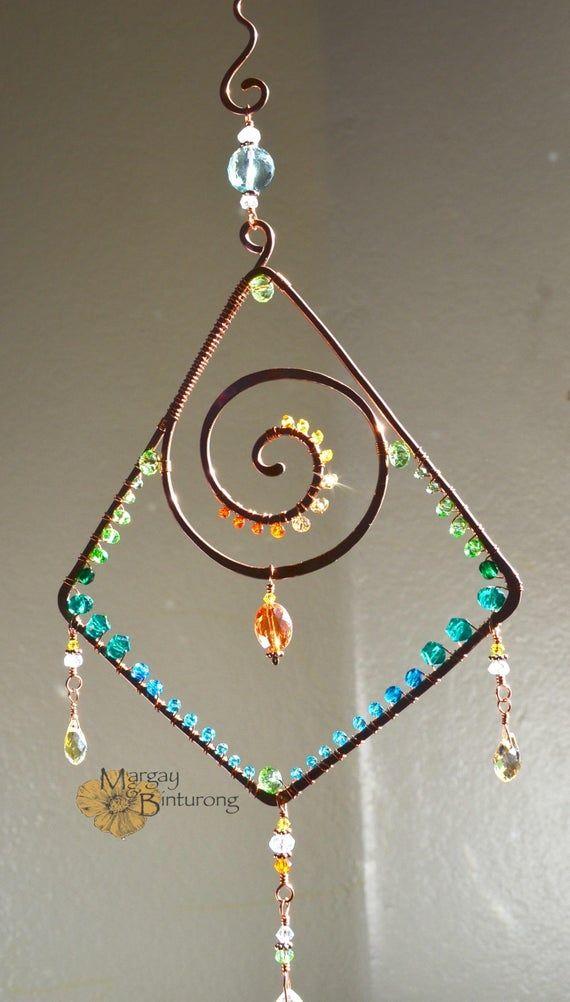 Sparkly Geometric Spiral Suncatcher Ombre Gemstone Swarovski Wire